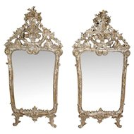 Pair of Early Italian Baroque Silver Gilt Pier Mirrors