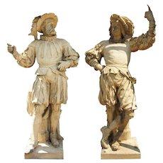 ALEXANDER CALANDRELLI Pair of Terracotta Pottery Lansquenet Statues