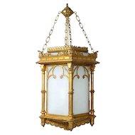 English Gothic Revival Gilt and Zinc Hanging Hall Lantern