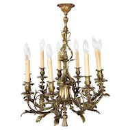 French Bronze Nine-Light Chandelier