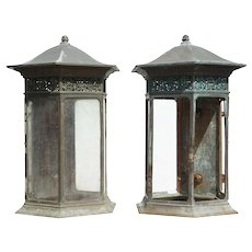 Pair of American Copper and Bronze Wall Lanterns