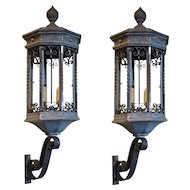 Pair of American Galvanized Metal and Iron Exterior Bracket Lanterns