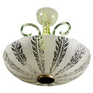 Swedish Art Deco Etched And Blown Glass Bowl Light Fixture