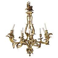French Rococo Revival Gilt Bronze Nine-Light Chandelier