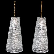 Pair of Swedish CARL FAGERLUND for Orrefors Cast Glass Pendant Lights