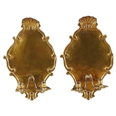 Pair of Swedish Grace Brass Two-Arm Candle Sconces