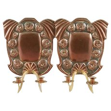 Pair of Swedish Jugendstil Art Nouveau Copper Two-Arm Candle Sconces