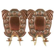 Pair of Swedish Jugendstil Art Nouveau Copper Two-Arm Candle Sconces