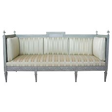 Swedish Gustavian Style Painted Pine Upholstered Sofa