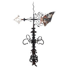 English Victorian Painted Copper and Wrought Iron Butterfly Weathervane