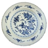 Antique Dutch Delft Blue and White Faience Pottery Charger Plate