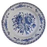 Antique Dutch Delft Blue and White Faience Pottery Charger