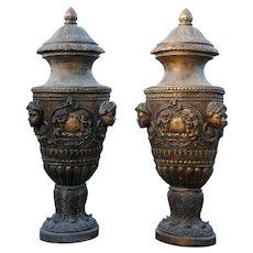 Pair of Large Neo-classical Bronze Lidded Garden Urns