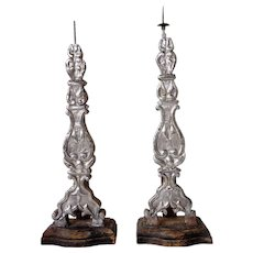 Pair of Indo-Portuguese Silver Repousse Candlesticks