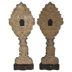 Pair of Indo-Portuguese Baroque Revival Silver Reliquaries