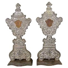 Pair of Indo-Portuguese Silver Mounted Reliquaries