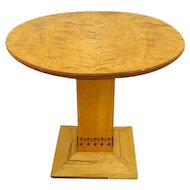 Scandinavian Arts and Crafts Inlaid Birch Pedestal Table
