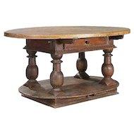 Swedish Baroque Oval Pine/Birch Work Table