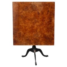Swedish Burled Birch Rectangular Tilt-Top Pedestal Table