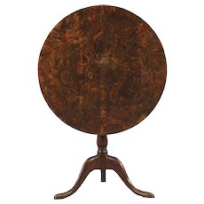 Swedish ANDERS JACOB ROSENDAHL Burled Birch Tilt-Top Pedestal Table