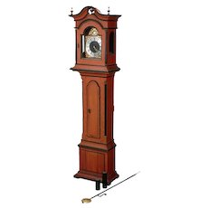 Antique Swedish Painted Pine Small Scale Grandfather Clock