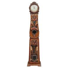 Swedish Allmoge Painted Pine Mora Longcase Clock