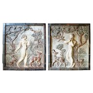 Pair of KNUD KYHN Stoneware Tiled Panels of Adam & Eve