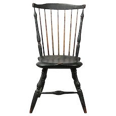 American New England Painted Fan-Back Windsor Side Chair