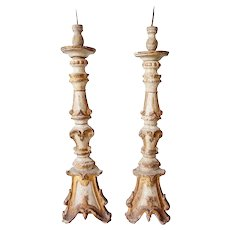 Pair of Indo-Portuguese Baroque Teak Candlesticks