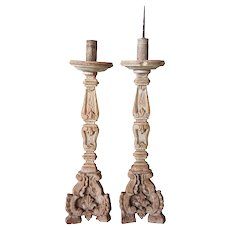 Pair of Indo-Portuguese Baroque Style Painted Teak Candlesticks