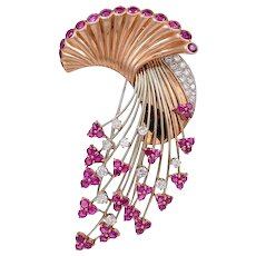 Art Deco Retro Ruby and Diamond Brooch