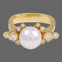 Georg Jensen Diamond and Pearl Gold Ring No. 63