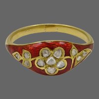 Georgian Rose Diamond Red Enamel Ring