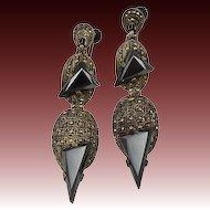 Art Deco Sterling Silver Marcasite Hematite Earrings by Theodor Farhner