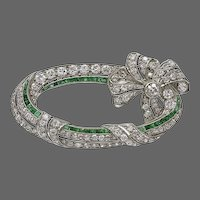 Art Deco Emerald Diamond Platinum Ribbon Brooch