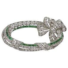 Art Deco Emerald Diamond Platinum Ribbon Brooch