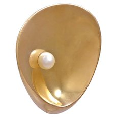 Georg Jensen 18kt Gold Brooch with Pearl by Nana Ditzel