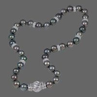 Black South Sea Pearl Necklace with Diamonds