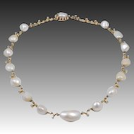 Antique Natural Pearl Diamond Necklace