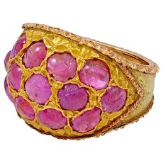 Buccellati 18kt Gold and Carved Ruby Ring