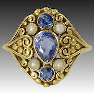 Frank G. Hale. 18Kt gold ring with Montana Sapphires and Pearls