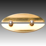 Georg Jensen Gold & Pearl Brooch No. 1350A