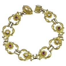Georg Jensen 18kt Bracelet No. 172 with Diamonds & Rubies
