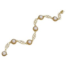 Georg Jensen Gold Bracelet No. 158 with Pearls