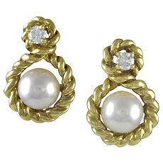 Tiffany & Co. Diamond and Pearl Earrings