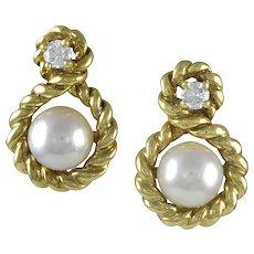 Tiffany & Co. Diamond and Pearl Earrings