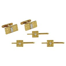 Cartier Gold & Diamond Cufflink and Stud Set