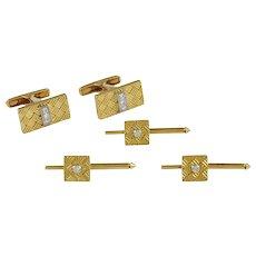Cartier Gold & Diamond Cufflink and Stud Set