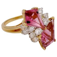 Oscar Heyman Diamond & Pink Tourmaline in Platinum & 18KT Gold