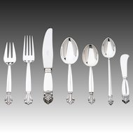 Georg Jensen Sterling Silver Seven-piece Flatware Service for Twelve in Acanthus